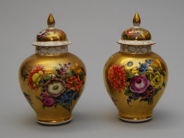 A pair of Dresden vases