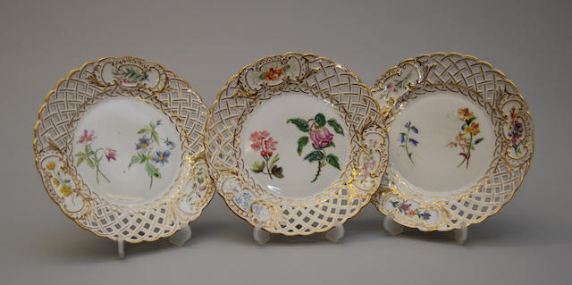Eleven Dresden floral ribbon plates