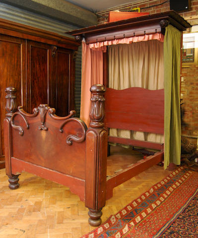 "An early Victorian 4' 6"" mahogany half tester bed"