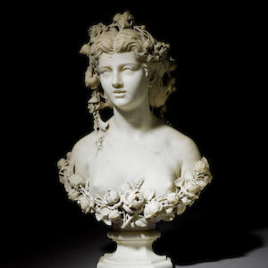 Gelindo Monzini, A Milanese carved marble bust of a young woman, signed and dated 1874, with pedestal