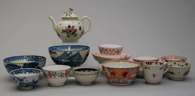 A mixed group of late 18th and early 19th century English teawares