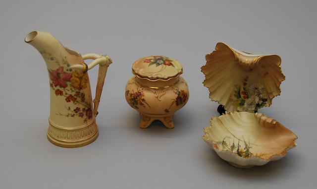 A small collection of Royal Worcester blush ivory wares