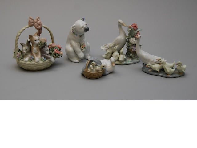 A small collection of Lladro animal figurines