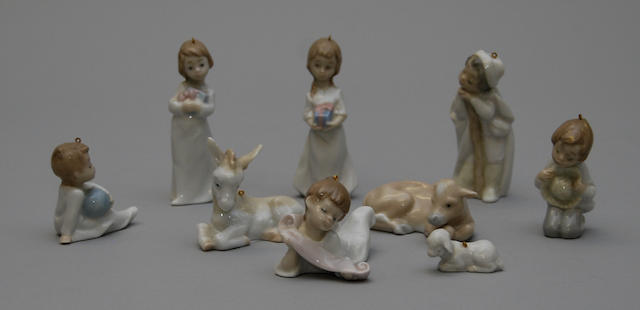 Three sets of miniature Lladro figures