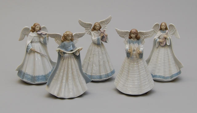 Five Lladro figurines of instrument-playing angels