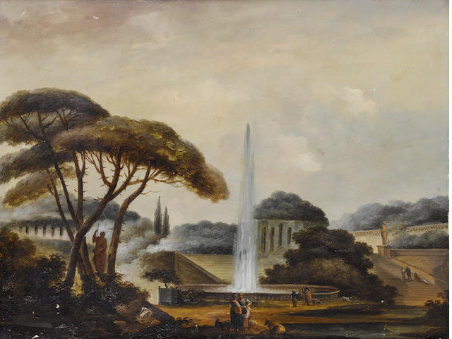Follower of Hubert Robert (Paris 1733-1808) Figures before a fountain in an Italianate garden