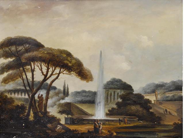 Follower of Hubert Robert (Paris 1733-1808) Figures before a fountain in an Italianate garden