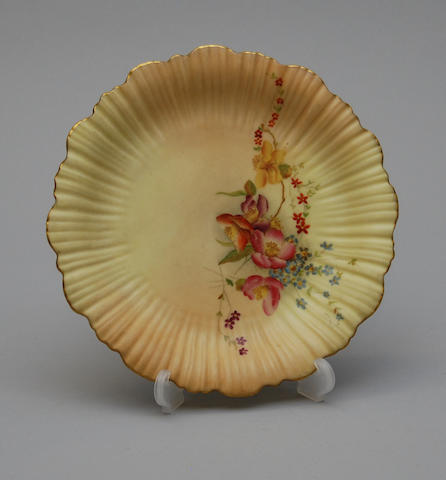 A Royal Worcester blush ivory plate