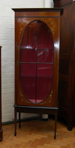 An Edwardian mahogany and polychrome-painted display cabinet