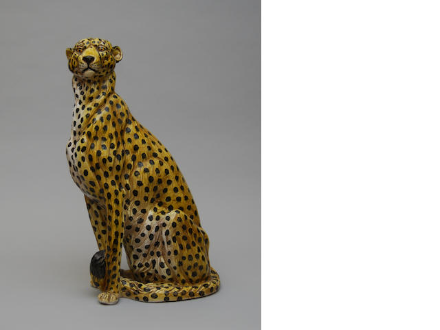 A large Italian ceramic figure of a cheetah