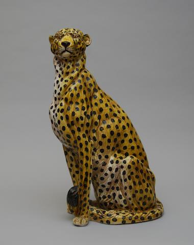 A large Italian ceramic figure of a cheetah
