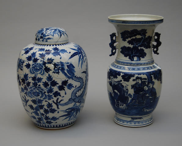 A Chinese blue and white vase and a blue and white ginger jar and cover