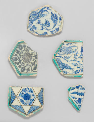 A group of five Mamluk underglaze painted pottery Tile Fragments Syria, circa 1425(5)