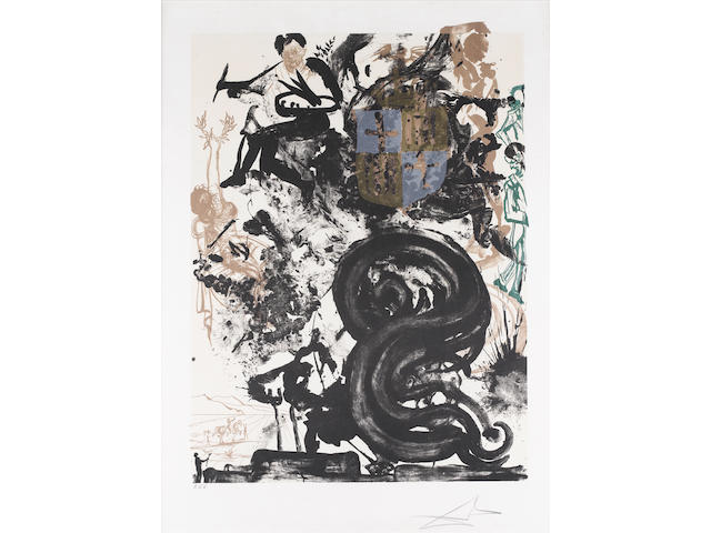 Salvador Dali (Spanish, 1904-1989) Project of Monument to Picasso Lithograph in colours, 1973, on Arches, inscribed P d'A, a proof aside from the edition of 500, 628 x 460mm (24 3/4 x 18in)(I)