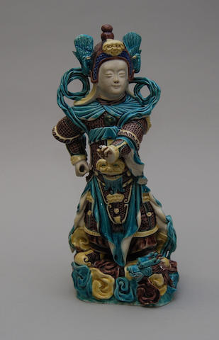 A Japanese porcelain figure of a warrior