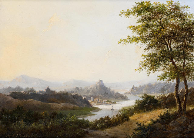 Marinus Adrianus Koekkoek I (Dutch, 1807-1868) A view of the Rhine