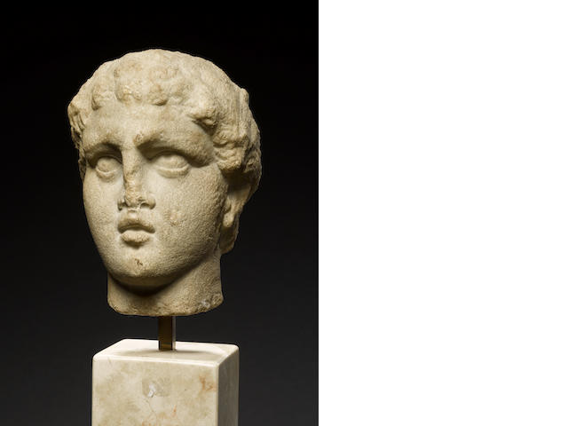 A marble head of youth