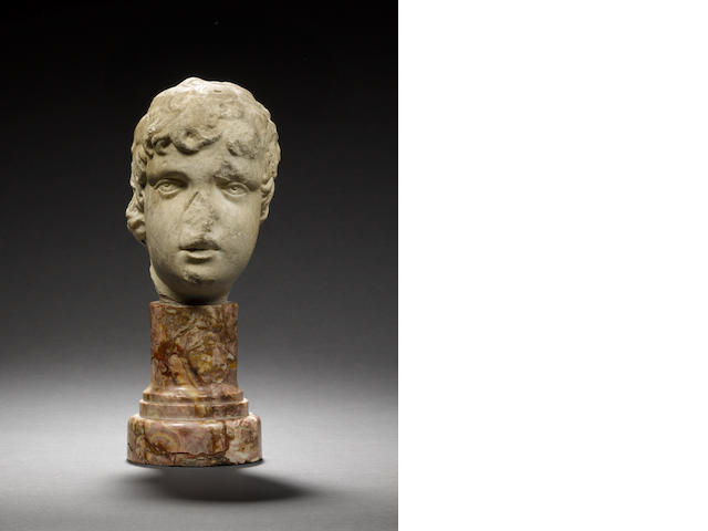A Roman marble head of child