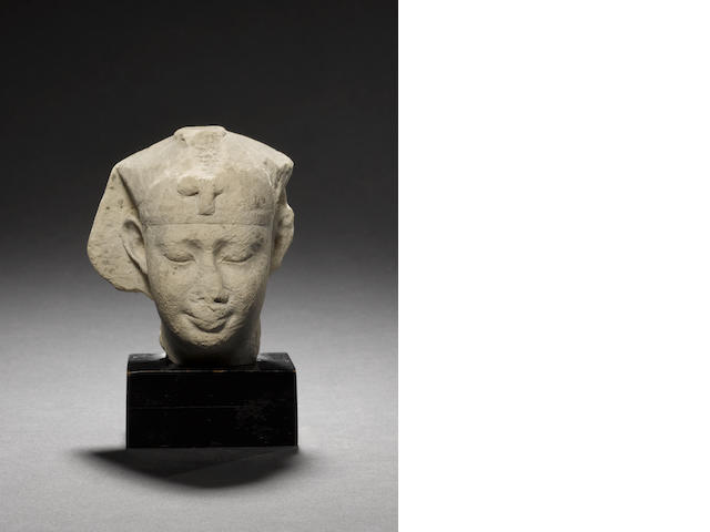 An Egyptian limestone trial piece of a head of Pharaoh