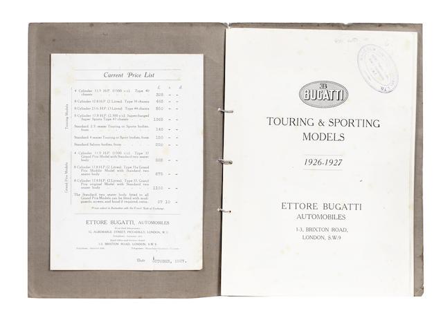 A Bugatti sales brochure, 1927,