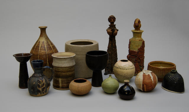 Fifteen pieces of various studio pottery