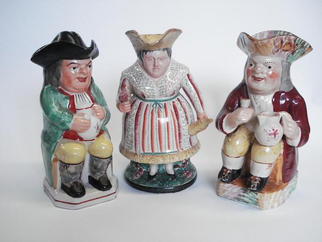 Three Staffordshire Toby jugs, second half 19th century