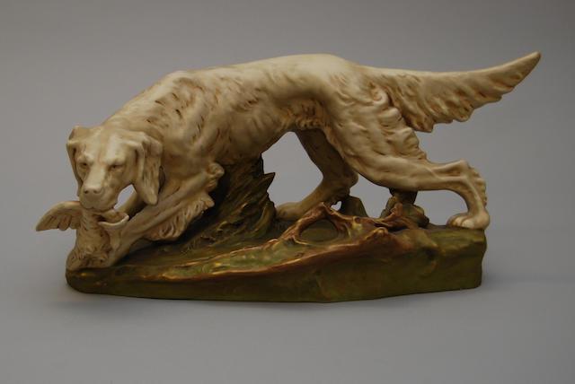 A Royal Dux figure of a dog