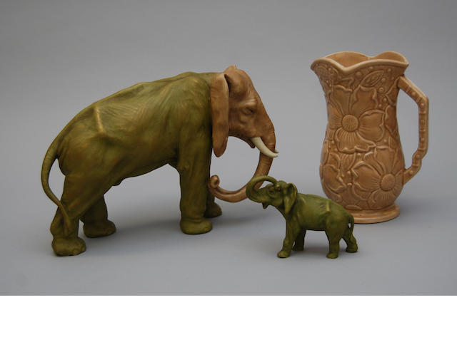 Two Royal Dux figures of elephants