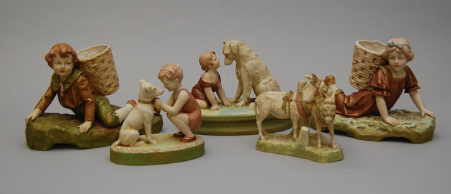 A small collection of Royal Dux figure groups