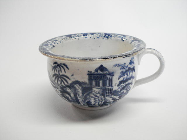A Herculaneum blue printed spittoon, circa 1820