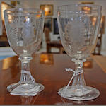 "A pair of late 19th Century ""Matrimonial and Courtship"" wine glasses"