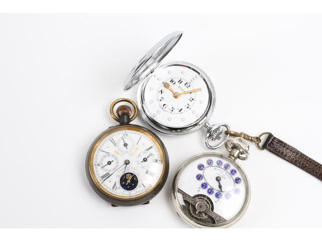Three opened faced pocket watches