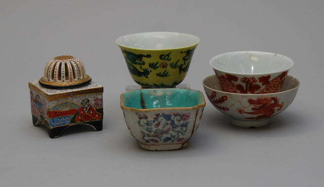 Four Chinese porcelain bowls and a Japanese Satsuma koro and cover
