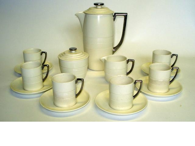A six-piece Wedgwood Keith Murray Moonstone Coffee Set
