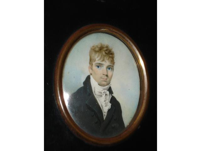 Circle of George Engleheart (British, 1750-1829) A portrait miniature of a young gentleman wearing dark jacket and white stock, oval, on ivory,