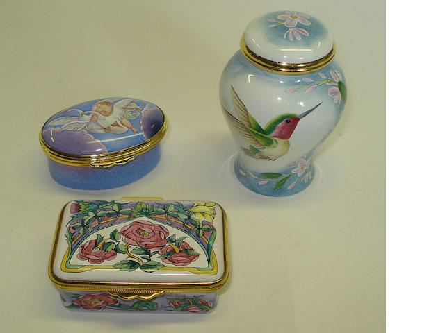A group of Moorcroft enamel items