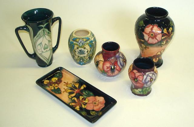 A group of Moorcroft items