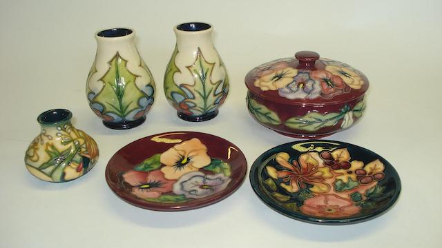 A group of Moorcroft vases
