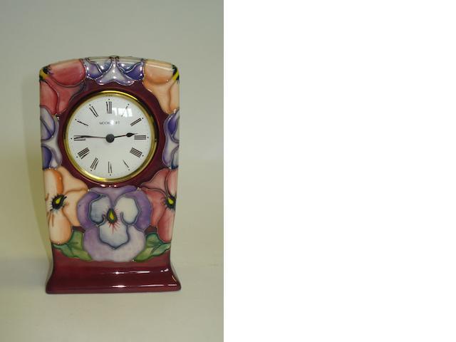 A Moorcroft Pansy desk clock