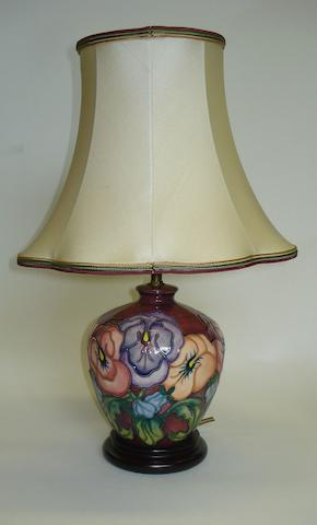 A Moorcroft 'Pansy' pattern table lamp