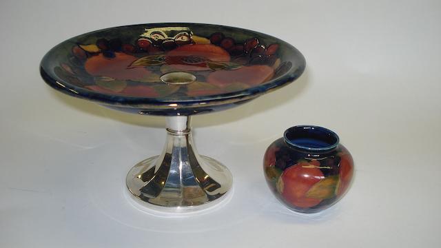 A Moorcroft Pomegranate pattern pedestal dish