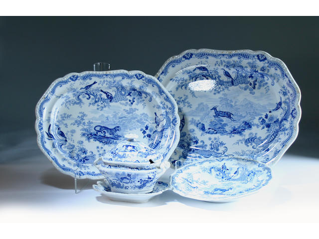 A Job Meigh zoological series blue printed part dinner service, circa 1835
