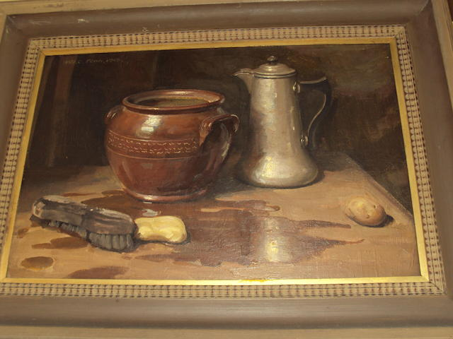 William Charles Penn (British, 1877-1968) Still life of waterpots, brush and potatoes,
