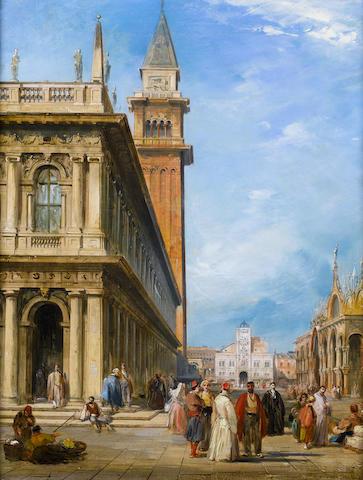 Edward Pritchett (British, 1828-1864) St. Mark's Square, a pair