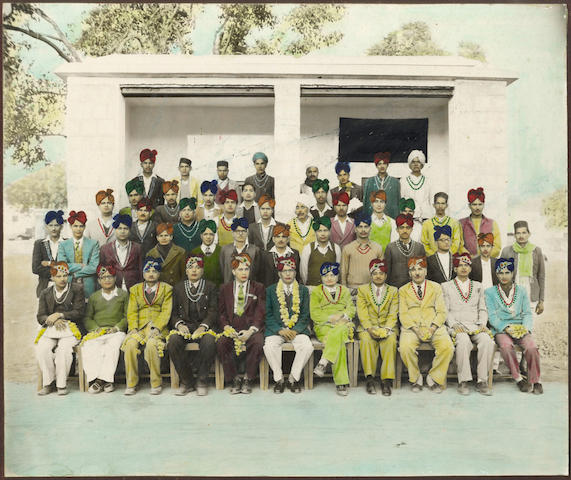 GROUP PORTRAITS A collection of approximately forty Indian and British group portraits, six hand tinted