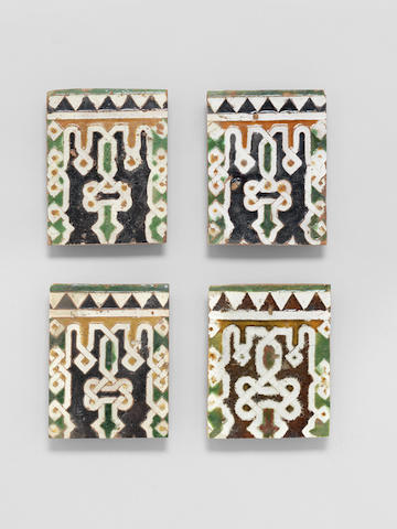 A group of four Hispano-Moresque cuenca pottery Tiles Spain, 16th Century(4)