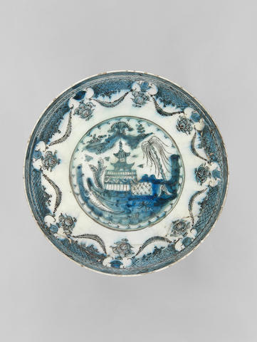 A large Safavid underglaze-painted pottery Dish Persia, 17th Century