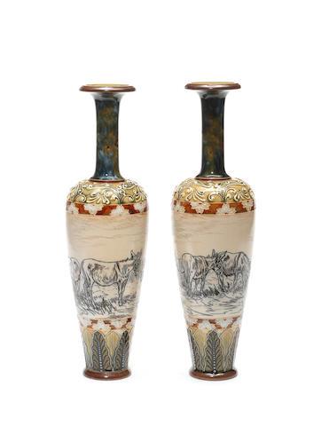 Hannah Barlow for Doulton Lambeth a Pair of Vases with Donkeys, circa 1890