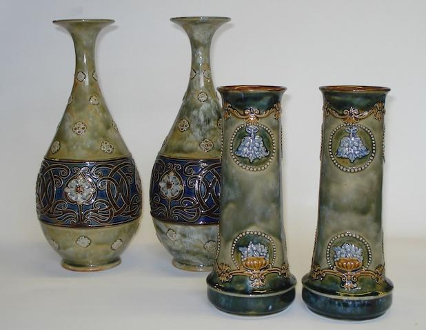 Lambeth A pair of Doulton Lambeth Vases, Circa 1905
