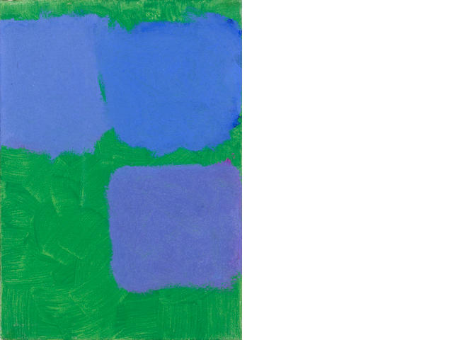 Patrick Heron (British, 1920-1999) Three Blues in Grass Green 35.5 x 25.5 cm. (14 x 10 in.)